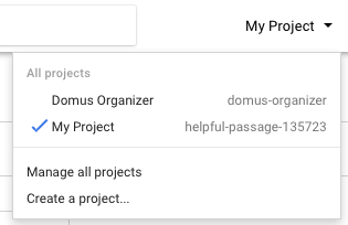 Google Maps API Key: Create new project