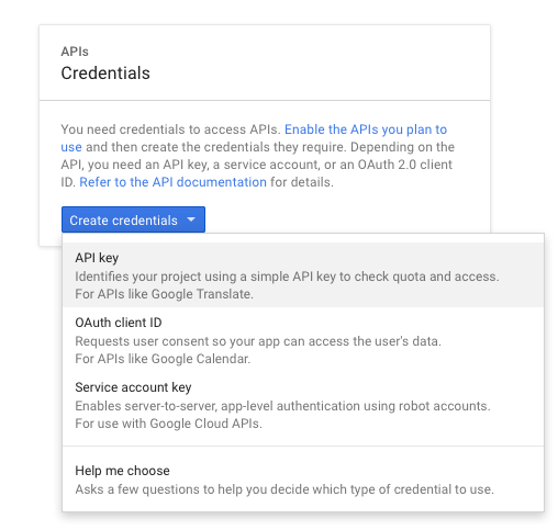 Google Maps API key: Create new API key