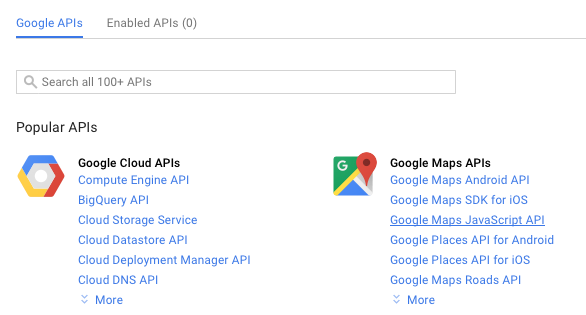 Google Maps API Key: Enable the API