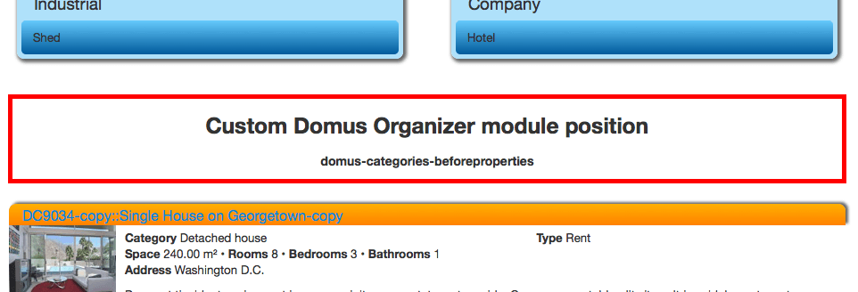 Custom module positions: Categories view