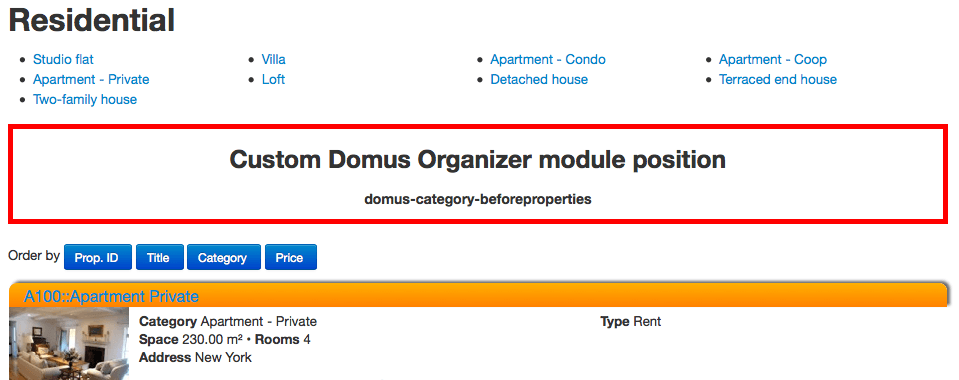 Custom module positions: Category view