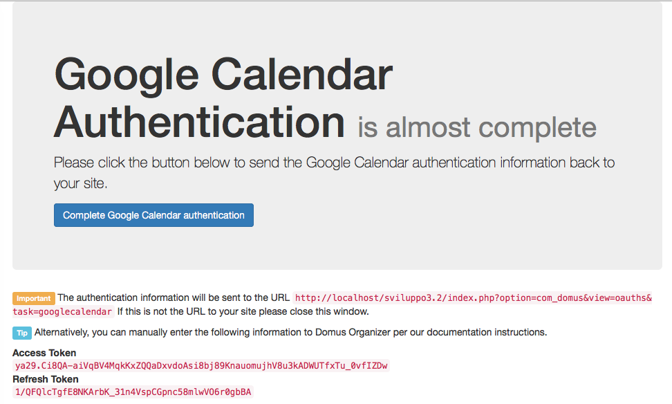 Google Calendar: Access and Refresh token fetched
