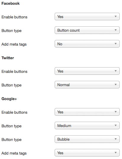 Social share plugin: configuration options