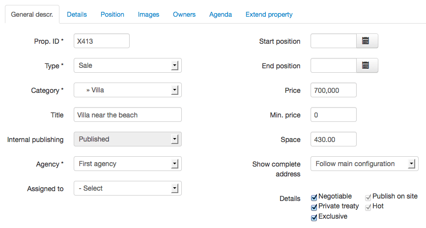 Scenario #2: Property form with publishing fields disabled